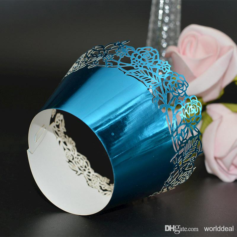 120pcs/lot Hollow Rose Design Reflective Paper Packing Wedding Party Cake Cupcake Surrounding Edge Laser Cut Wrapper wc573