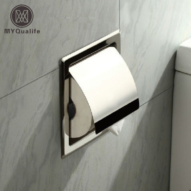 Free Shipping Whole And Retail Waterproof Stainless Steel Toilet Roll Paper Box Concealed Install