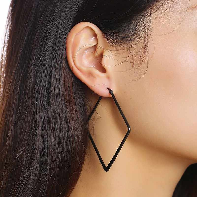 Big Boho Geometric Black Square Hoop Earrings For Women Stainless Steel  Earing Accessories
