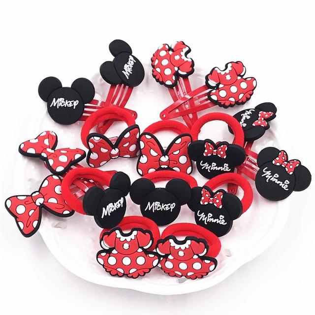 2Pcs/set Minnie Mickey Cute Children Elastics Hair bands Hairpins Hair clips Headwear Barrette Baby Girls Kids Hair Accessories