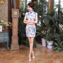 Summer New Arrival Traditional Chinese Dress Women's Silk Rayon Qipao Print Short Cheongsam Vintage Dress S M L XL XXL LGD35