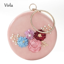 Luxury Evening Bag Wedding Party Flower Handbag Metal PU Women Clutch 3 Colors BG-046