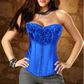 Cheap sale Flower Sexy Rose Flower decoration Boned Corset Good Quality Satin Waist Cincher Bustier S-XXL