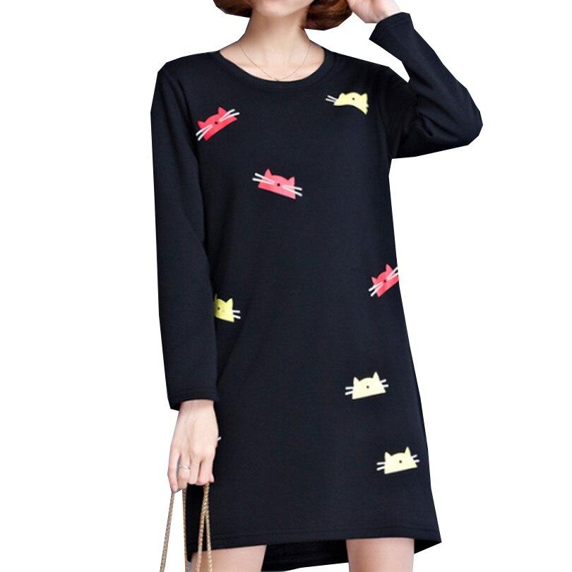 Colorful <font><b>Kitten</b></font> Portrait Printing Dress <font><b>Autumn</b></font> Long Sleeve Round Neck Vestidos Curto Casual t Shirt Dress Big Size Women Dresses