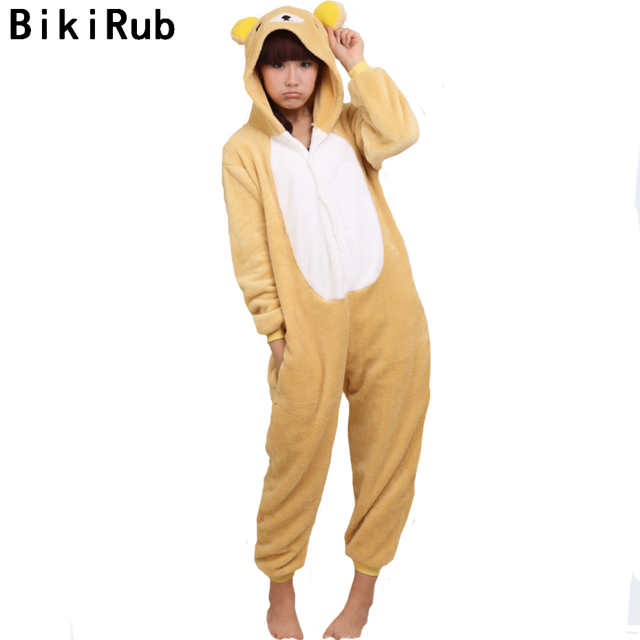 Pajama Sets Impartial Bikirub Pajama Women Winter Sleepwear Unisex Cute Easily Rilakkuma Bear Cartoon Long Sleeve Pajama Sets Flannel Animal Home Wear Vivid And Great In Style