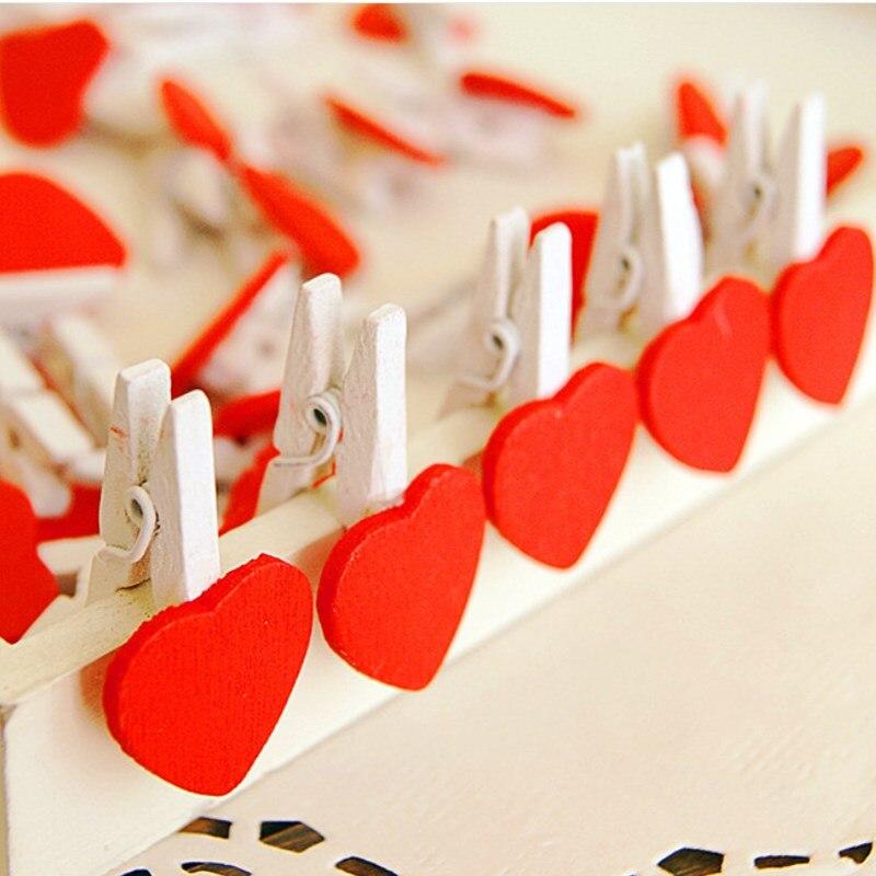 20 шт цветные мини любовь сердце деревянные зажимы ремесло памятки канцелярские принадлежности Новинка
