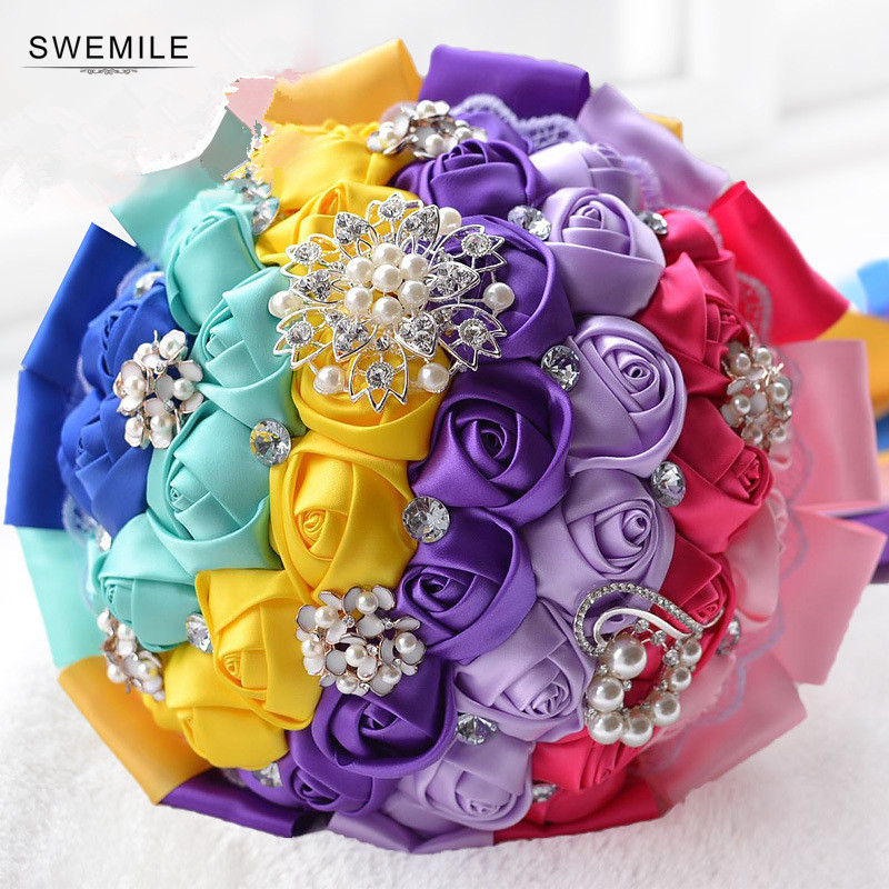 Ramos De Novia Stunning Artificial Flowers Crystals 15 Colors Wedding Bouquet Flower Rose Bridal Bouquet Wedding Accessories