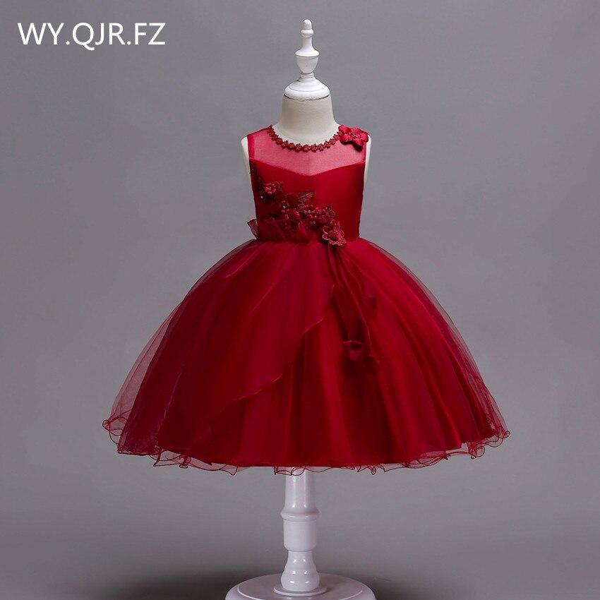 BH700#Burgundy short Irregular hem   Flower     girl     dresses   performance party prom   dress   Wholesale cheap children's Ball Gown China