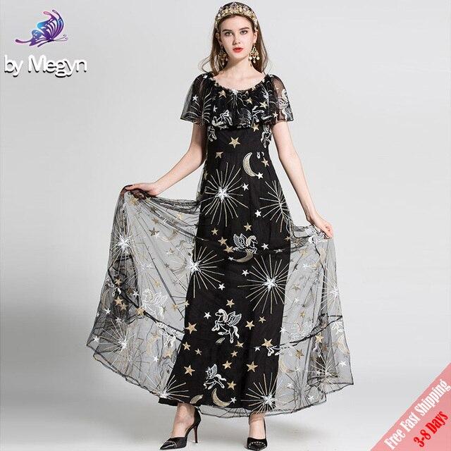 High Quality Fashion Designer Maxi Dress 2018 New Women s Elegant Ruffles  Moon Star Embroidered Mesh Long 58412dcd9934
