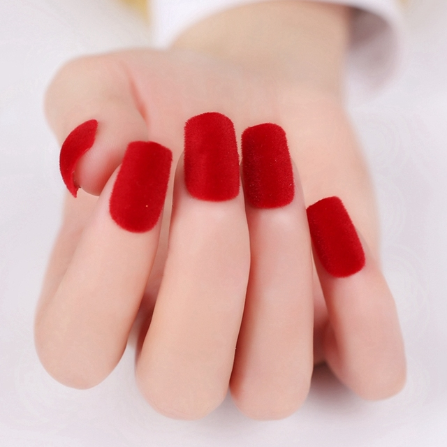sexy matte red acrylic nails velvet