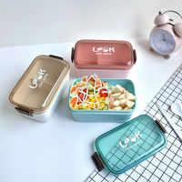 Fiambrera de plástico saludable de 800 ml, a prueba de fugas, para microondas, Bento, contenedor de almacenamiento de alimentos, fiambrera, sin BPA
