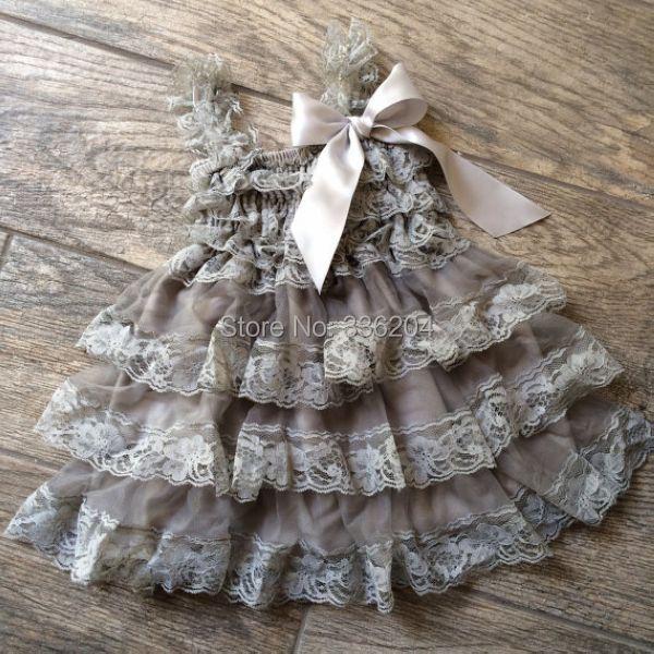 Blumenmädchen kleid, spitzenkleid rustikale blumenmädchen Grau lace ...