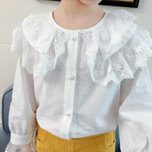 DFXD Toddler Girls White Blouse Spring Cotton Long Sleeve La