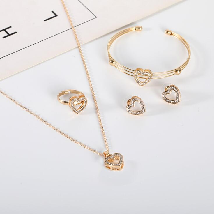 4 Pcs/ Set Cute Heart Shaped Neclace Earrings Sets Jewelry Crystal Kid Children Lovely Gold Color Jewelry Sets for Girl Gift