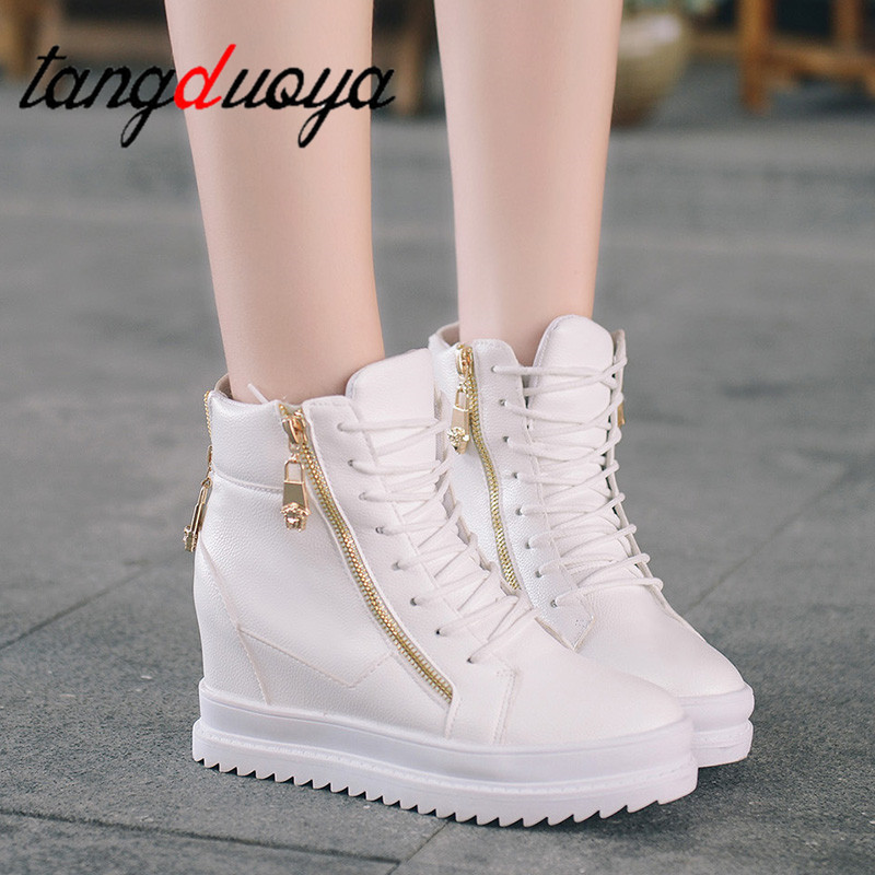 High Top White Shoes Woman Platform Casual Shoes Female Fashion Casual Shoes Wedge Heel Lady Sneakers Woman Shoe 2019 Ankle Boot