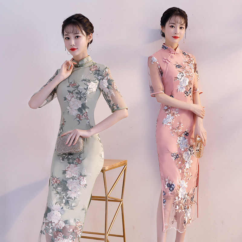 d83705f2e3f20 ... New Arrival Chinese Women Lace Sexy Floral Short Qipao Vintage Elegant  Casual Cheongsam Lady Handmade Button ...
