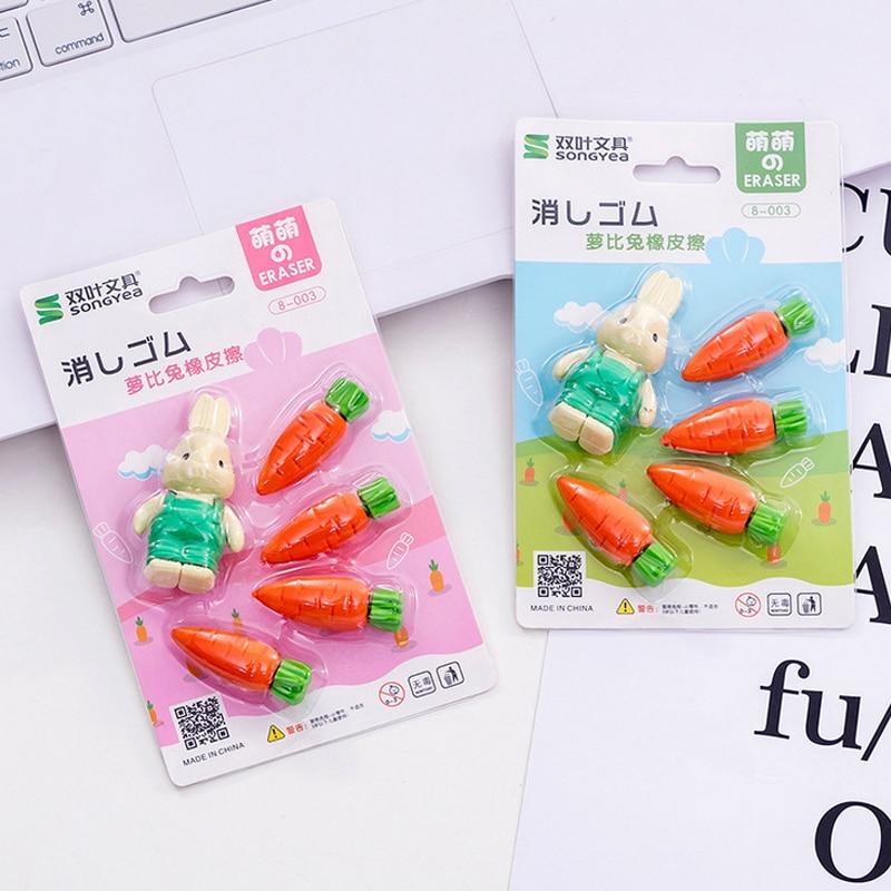 5 Pcs/set Rabbit Carrots Eraser Cartoon Animal Pencil Rubber Eraser Kawaii Stationery School Supplies Papelaria Kids Gifts