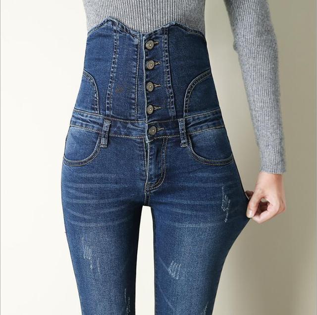 1351526e1499 Moda 2017 nuevos pantalones vaqueros de cintura alta para mujer pantalones  vaqueros ajustados elásticos para mujer pantalones vaqueros de marca de luz  ...
