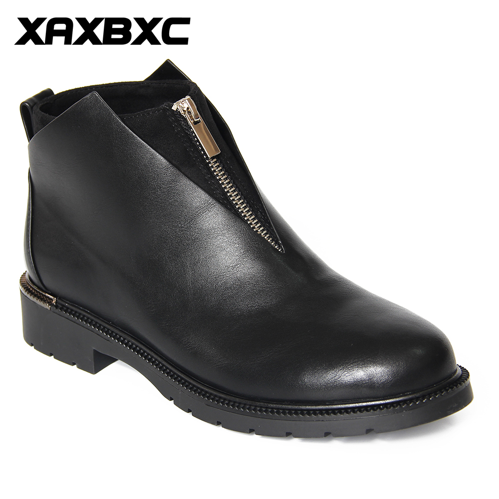 XAXBXC 2018 Retro British Winter Black PU Leather Zipper Brogues Short Ankle Boots Warm Women Boots Handmade Casual Lady Shoes
