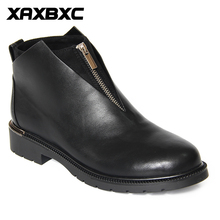 XAXBXC 2018 Retro British Winter Black PU Leather Zipper Brogues Short Ankle Boots Warm Women Handmade Casual Lady Shoes