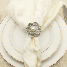 5PCS gold and silver pearl napkin buckle plum ring mouth cloth alloy