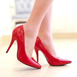 Image 3 - אופנה גבוהה עקבים משאבות אישה נעלי ירוק עירום אדום כחול נשים של נעלי מפלגה נעלי חתונת משרד גבירותיי גדול גודל 44 47