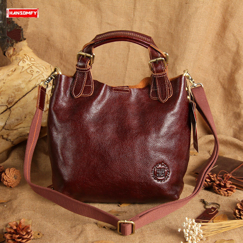 2019 new top layer cowhide women handbags ladies shoulder bag female simple large capacity messenger bag retro brown leather bag2019 new top layer cowhide women handbags ladies shoulder bag female simple large capacity messenger bag retro brown leather bag