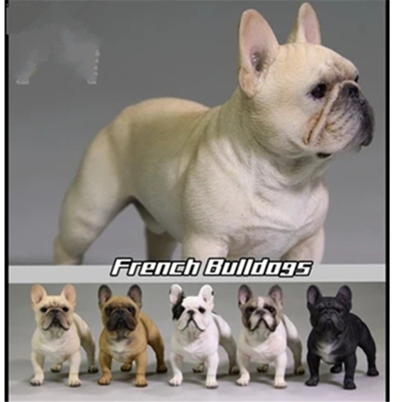 Cute 1/6 Scale Lifelike Standing French Bulldog Statue Simulation Animal Home Decor Action Figure Collectible Model Toy P941
