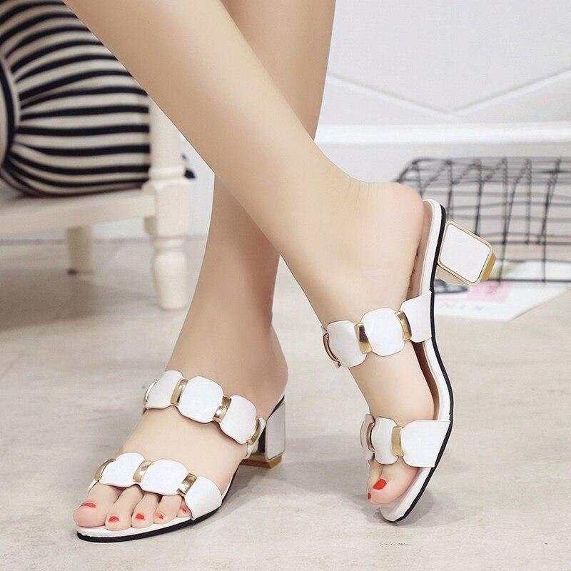 Sandals Women High Heels Female Square Heels Sandalia Feminina Ladies Pump Shoes Party Wedding Peep Toe Shoes Black sandalias