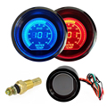 "2"" 52mm Water Temperature Gauge 12V Car Blue Red LED Light Tint Lens Auto Digital Temp Meter Celsius instrument Black Universal"