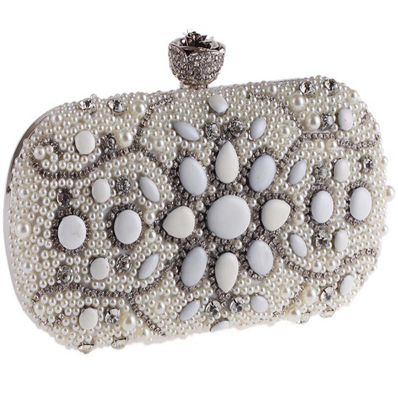 Small Mini Fashion Flowers Party Ladies Evening Clutch Bags Appliques Chain Women Shoulder Crossbody Bag With Luxury Pearl Gifts  new arrived ladies pu leather retro handbag luxury women bag evening bag fashion black pearl chain shoulder bag party clutch bag