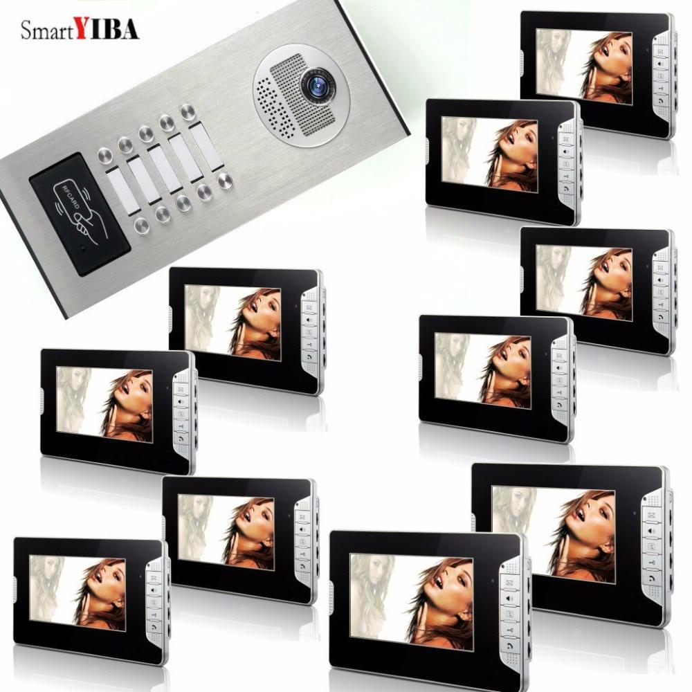 SmartYIBA 10 Appartement Interphone Vidéo 7 Pouce Moniteur Vidéo Porte Téléphone Sonnette Kit Nuit Vision RFID Accès Sonnette IR Caméra