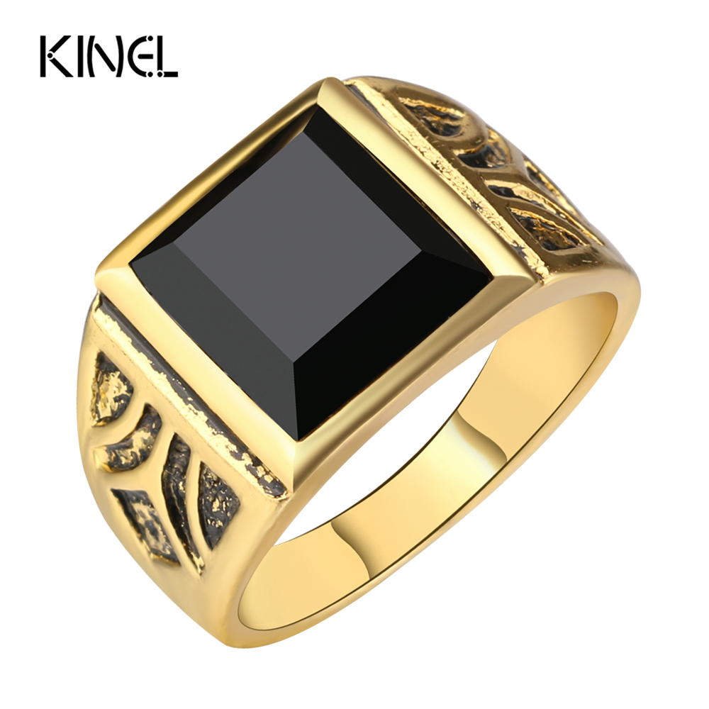 Kinel dubai fashion gold color ring men wedding paty for Dubai gold wedding rings