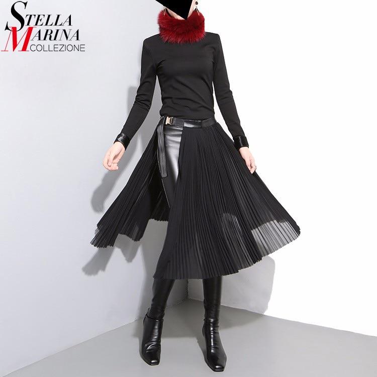 2018 koreanischen Stil Schwarz Plissee Chiffon Rock Ledergürtel Einstellbar Taille Mädchen Einzigartige Midi Sexy Party Tragen Röcke 876