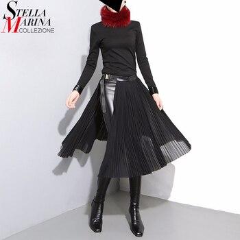 2019 קוריאני סגנון נשים שחור קפלים שיפון חצאית עור חגורה מתכווננת מותניים בנות ייחודי Midi סקסי המפלגה ללבוש חצאיות 876