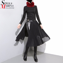 2019 Korean Style Women Black Pleated Chiffon Skirt Leather Belt Adjustable Waist