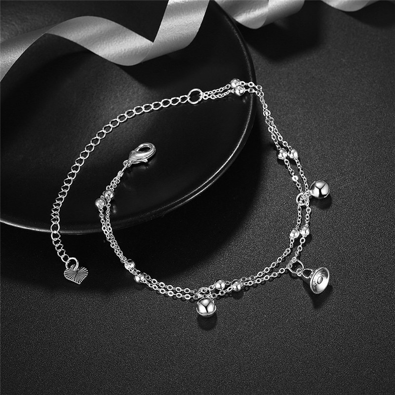 New 925 Sterling Silver Women Chain One Bells Rectangle Ankle Bracelet Sandal Beach Foot Anklet Gift