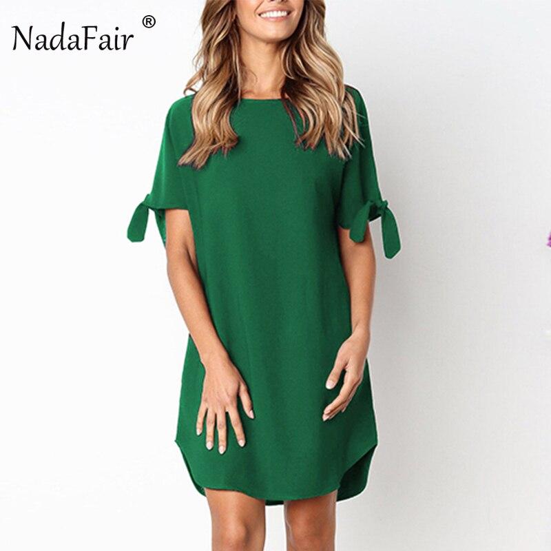 Nadafair cuello redondo manga corta recto Mini vestido de verano Mujer Casual Vestido de playa vacaciones camisa suelta vestido negro verde rojo