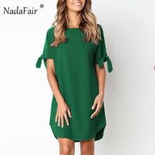 c762fd064 Nadafair manga corta cuello en O recto Mini vestido de verano vestido  Casual de mujer
