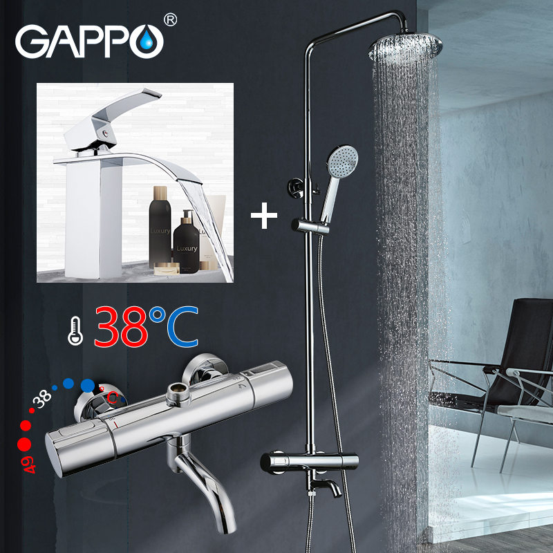 GAPPO Bathtub Faucet thermostatic shower faucet mixer thermostatic bathroom water taps basin sink faucet mixer gappo 1set bathroom faucet accessories faucet brass body bathtub sink mixer cold hot water faucet in hand showerg2211