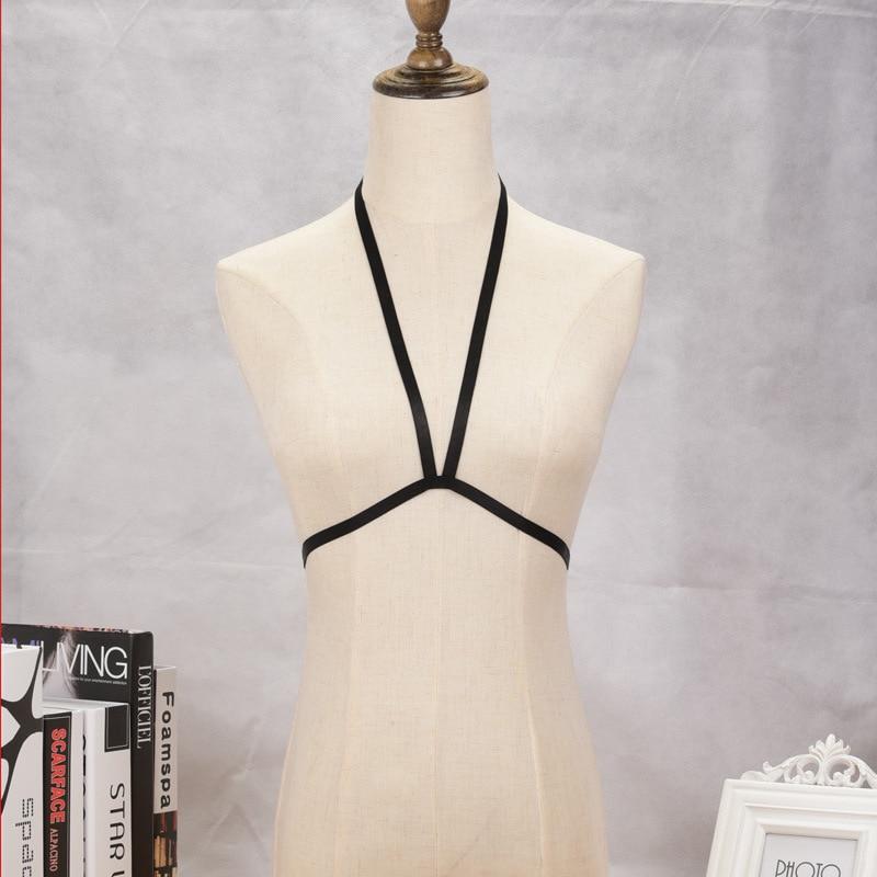 DIEZI Women Black Party Beach Bandage Bikini Sexy Summer Bralette bra Harness Body Chain Jewelry Necklace