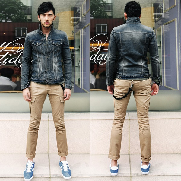New Casual Retro Slim Jeans Jackets For Men Fashion Solid Color