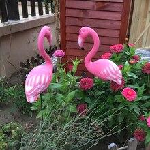 Garden Decor Artificial Red Pink Flamingos Courtyard Landscape Ornament Bird Yard Lawn Plastic Animal Fairy Miniature