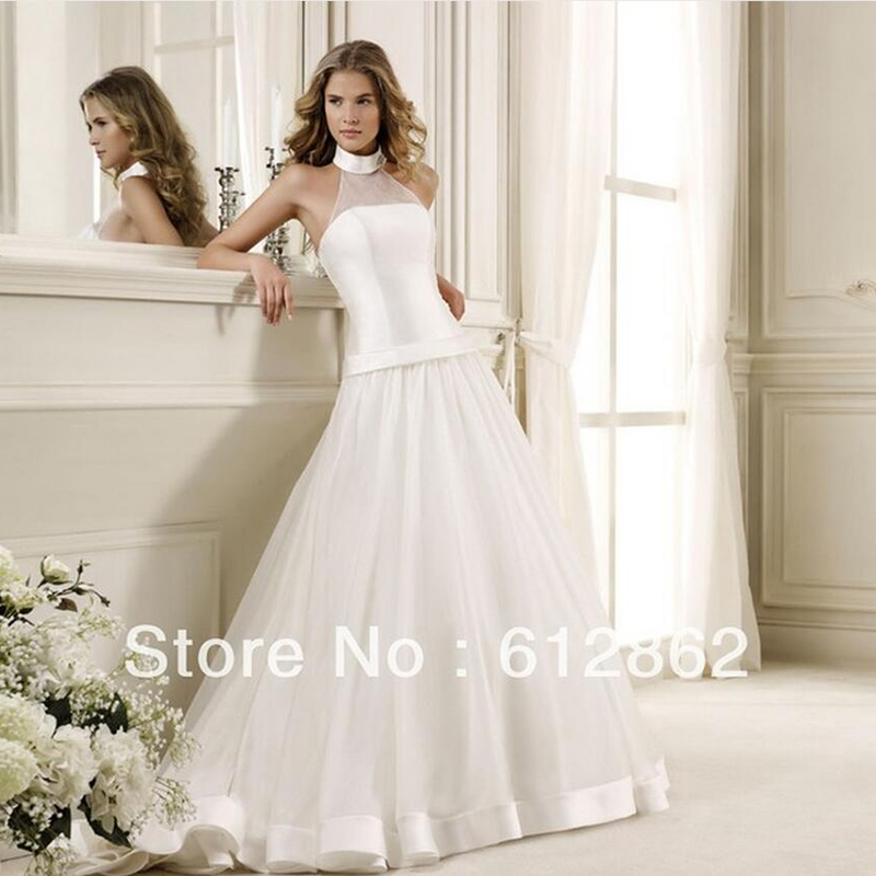 BU Sleeveless Court Train Low Back Halter Top Wedding