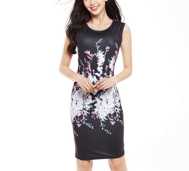 Letní šaty Sexy tisk květinové bodycon šaty štíhlé elegantní ženy oblečení elegantní večerní party šaty Tužka kancelářské šaty vestido