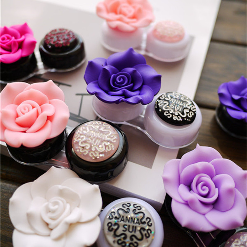 Dropshipping DIY Rose Contact Lens Case For Women Beauty Camellia Contact Lenses Box Luxury Container For Contact Lens