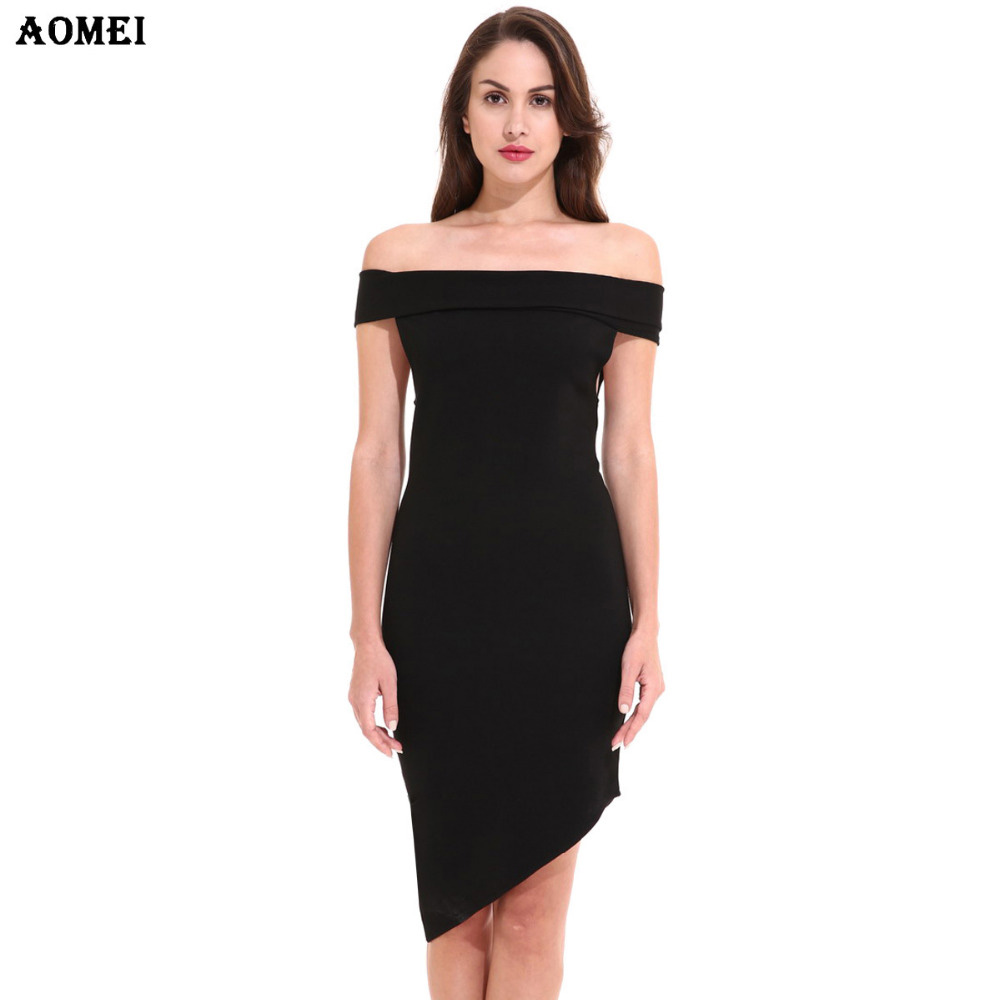 061e194e545 Ladies Sexy Tube Top Little Black Dress Slim Party Irregularities Off the  Shoulder Mini Dresses Ladies Vestido Robe Clothes-in Dresses from Women s  Clothing ...