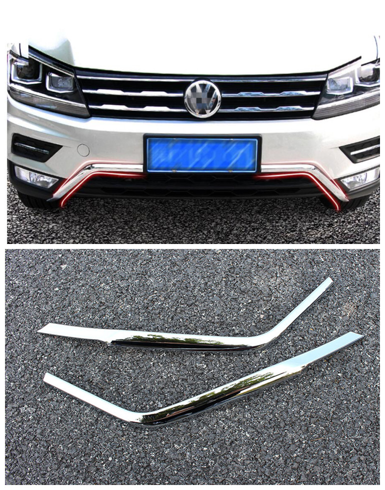 for 2017 2018 Volkswagen VW Tiguan mk2 ABS Front Bottom Bumper Molding racing grill trim accessories car styling 2pcs