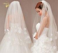 110cm Long ! Wholesale New Fashion ! Free Shipping ! Hot Sale ! Bridal Veil Wedding Veils BRIDAL ACCESORIES Flower VEIL OV3912