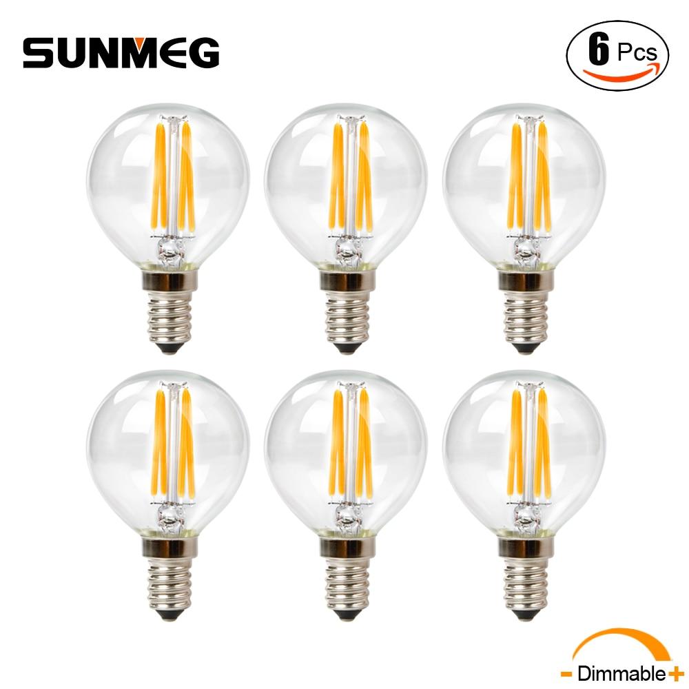 Mini Candelabra Base Led Bulb: SUNMEG G50 4W Dimmable LED Candelabra Filament Bulb Mini